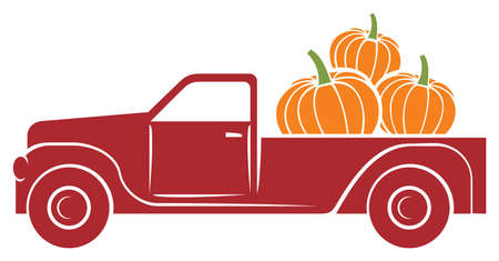 pumpkin truck vector illustration (fall design)