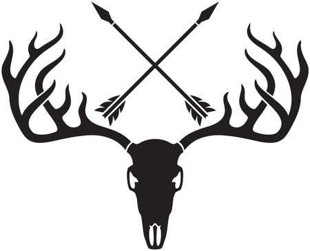vector deer skull with horns and crossed arrows