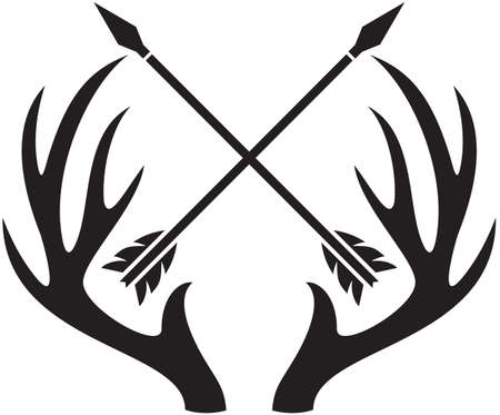 vector deer antlers (horns) and crossed arrows