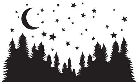 Starry night. Forest, night moon and stars silhouette vector background.
