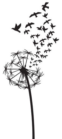 Dandelion with Birds vector illustration