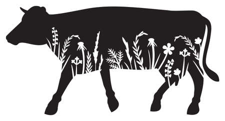 Floral Cow (grass silhouettes - flowers and plants).