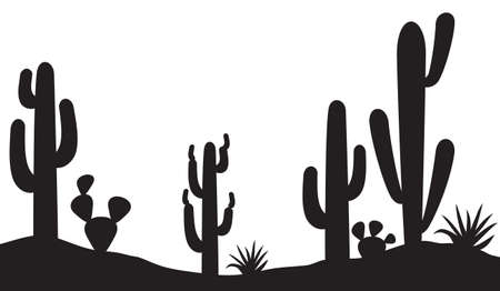 Desert landscape with cactus and plants