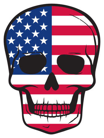 United States Flag Skull (American design, patriotic illustration)