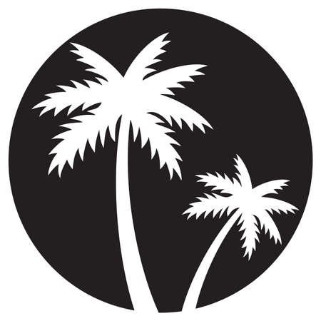 two palm trees silhouette vector illustration