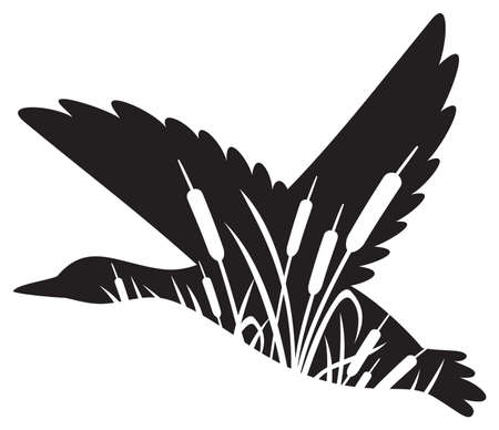 Floral flying mallard duck illustration (grass silhouettes - flowers and plants).