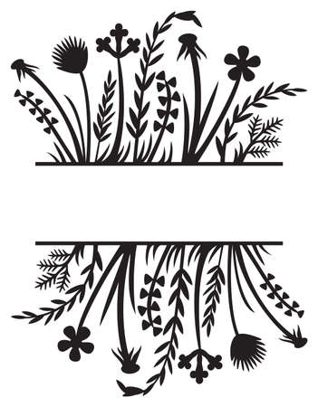 Floral frame or border. Grass silhouette vector illustration design (flowers and plants).