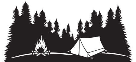 Landscape - camping in mountains (tourist tent and campfire, travel design) 矢量图像