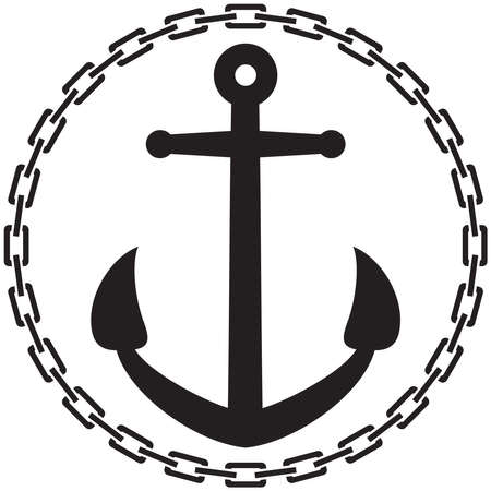 Anchor with chain round (circle) illustration Vector Illustratie