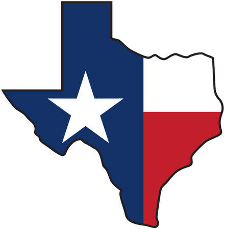 Texas map with flag (Lone Star State design)