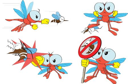 dragonfly and mosquito  Vector