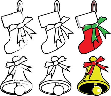 sock and bell for Christmas  Illustration