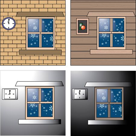 cold room: winter card and background template  Illustration