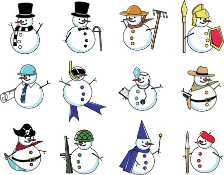 snowman in many costumes; farmer, magician, doctor, cowboy, pirate