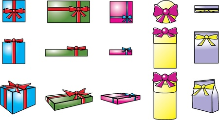 gift boxes  template in top, side and 3 dimensions views