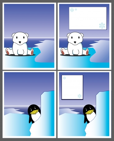Winter card; polar bear and penguin Vector