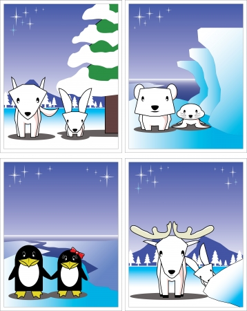 Winter card; polar bear, penguin, fox, rabbit,seal, reindeer Stock Vector - 16600853