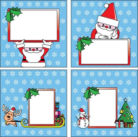 Christmas cards;  massage from Santa and friends Vector