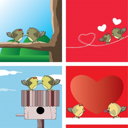 Two owls express love in vector format Vector