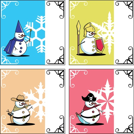 Winter card snowman play a role as magician knight cowboy pirate