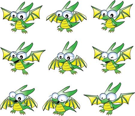 cartoon baby green dragon in many emotions; sad, happy, cry, angry Stock Vector - 17686515