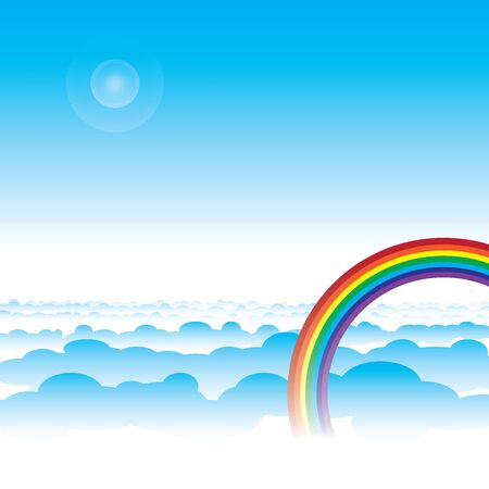 rainbow and blue sky with cloud layers vector Stock Vector - 17806829