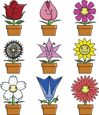 Flowers ; cosmos tulip rose sun flower lily and others Vector