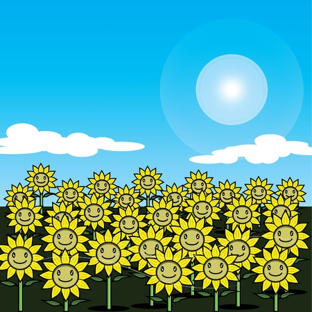 sunflower field: Sunflower field with wind blow