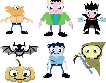 cute ghost: Cute ghost in halloween  include dracula, frankenstein, werewolf, zombie