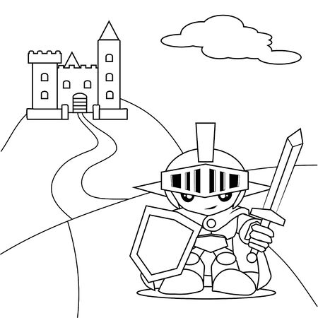 Hero with sword and the castle coloring book Vector