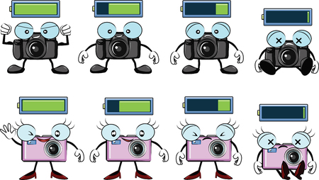 digital camera cartoon with battery levels from full to empty vector Vector