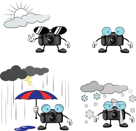 camera cartoon in sunny, rainy and winter condition Vector