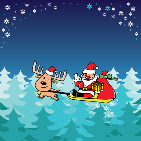 Santa and deer fly over the pine forest vector Vector