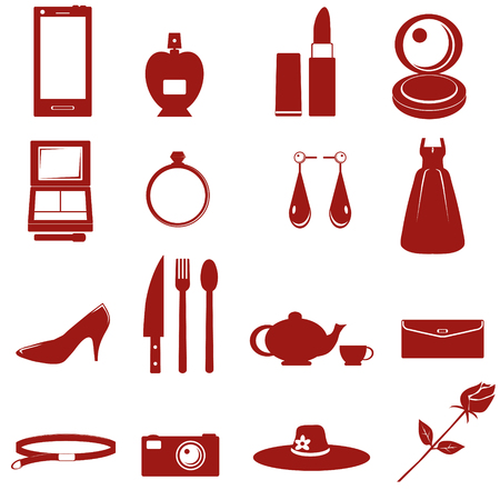 equipment for lady icon on white background