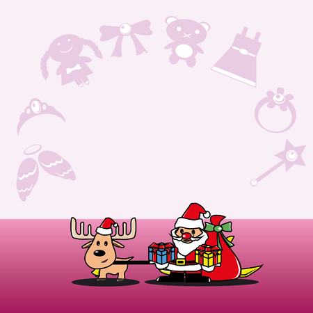 Santa and deer with a gift for girls vector Vector