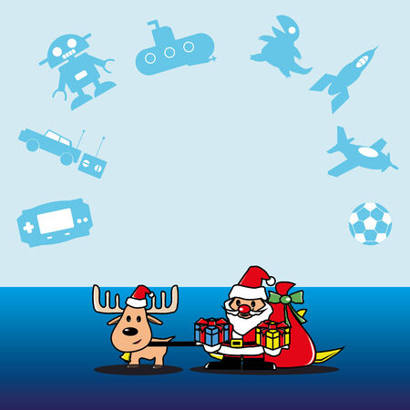 Santa and deer with a gift for boy vector Vector