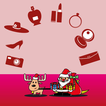 Santa and deer with a gift for lady vector Vector