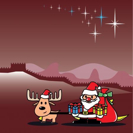 Christmas Cards Santa And Deer In China Royalty Free Cliparts Vectors And Stock Illustration Image 23904082