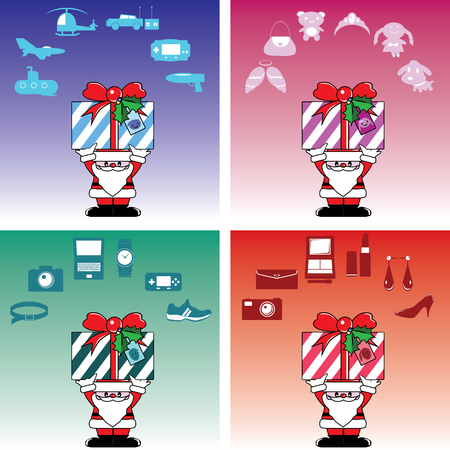 Santa and gift box for everyone in Christmas Vector