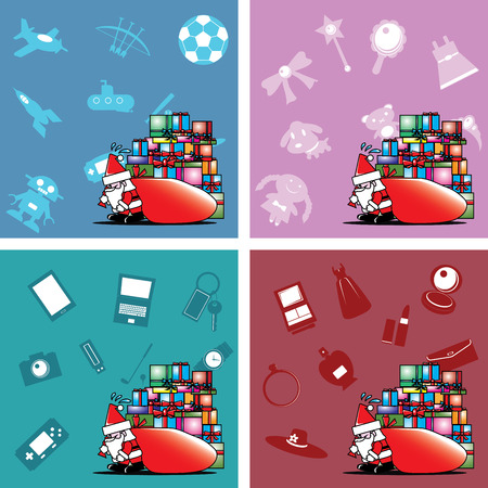 Santa carry heavy gift box bag vector Vector