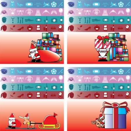 santa and gift for boy, girl, man and lady vector Vector
