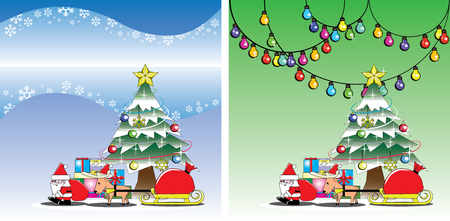 Santa and reindeer on the Christmas tree background vector Vector