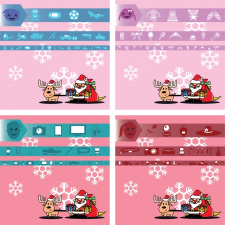santa and gift for boy, girl, man and lady on pink with snowflake Vector