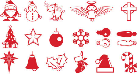 Simple Christmas components vector, Santa, snowman, deer, Christmas tree, angel, star, bulb, snowflake, bell, sock, Christmas hat, candy Vector