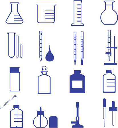 chemistry glassware and tools vector such as flask, dropper, test tube Illustration