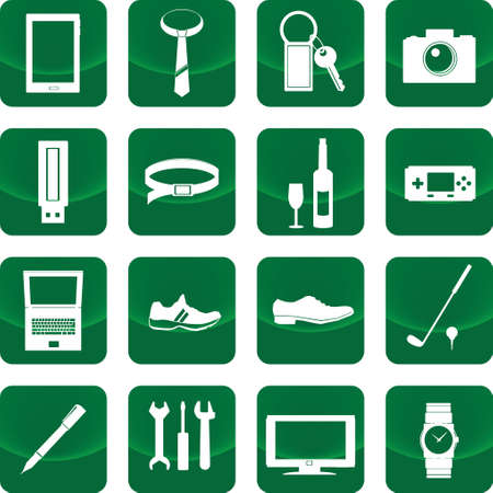 Equipment for men icon on green button include camera, mobile phone, watch, computer Vector