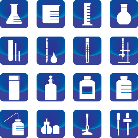 chemistry glassware and tools vector such as flask, buret, dropper, test tube Vector