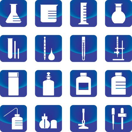 bureta: cristalería química y herramientas vectoriales como frasco, bureta, gotero, tubo de ensayo