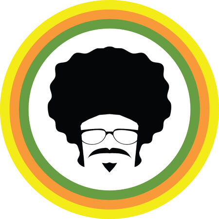 afro man symbol with colorful circle around vector Vector