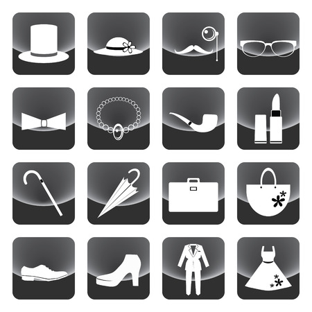 necklet: lady and gentleman costume button vector